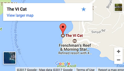 Location of The VI Cat Catamaran on St. Thomas at The Marriott