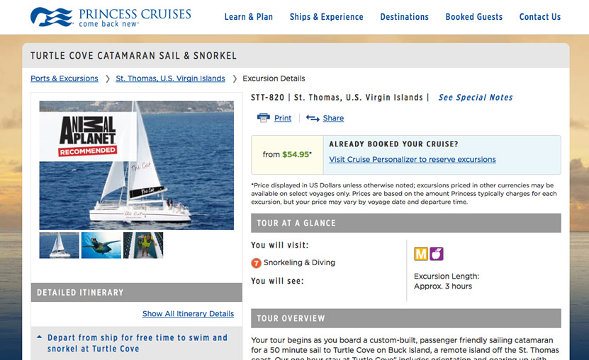 catamaran sail snorkel in st. thomas recommended by animal planet